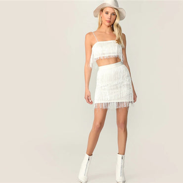 Sexy White Fringe Detail Cami Crop Top and Layered Bodycon Skirt