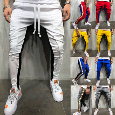 Slim Fit Trousers Tracksuit Bottoms Stiped Skinny Joggers Long Sweat Pants
