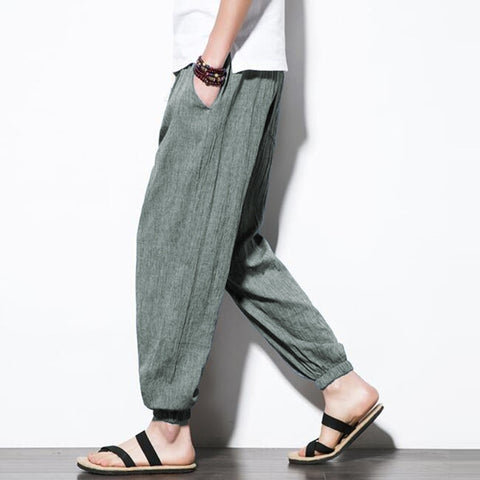 Thin Cotton Joggers Long Trousers Ankle-Length Elastic Waist Baggy Straight Casual Harem Pants