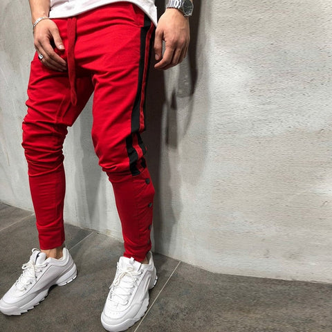 Sweatpants Side Striped Spliced Gyms Fitness Pencil Pants