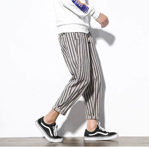 Black Striped Harem Pants