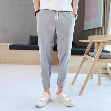 trend handsome relaxed casual simple pure color pure cotton pants