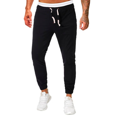Men Fashion Solid Black Gray Slim Fit Pants