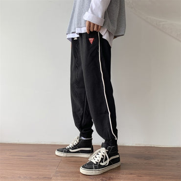 Men Fashion Solid Color Casual Straight Trousers Pants