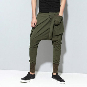 Men Harem Pants Drop Crotch Pockets Joggers