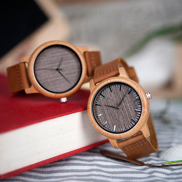 Vintage Lightweight Round Bamboo Wood Quartz Watches