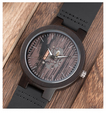 Wooden Watches  Casual Watch Black Cowhide Leather Strap