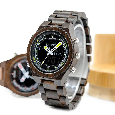 Digital Wood Case Watch  Dual Display Quartz Watches