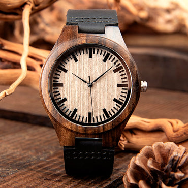 Luxury Men Watch  Black Wood Watches Quartz Wristwatch
