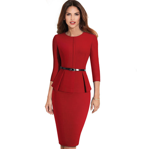 Vintage Elegant Wear to Work with Belt Bodycon Office Career Dress