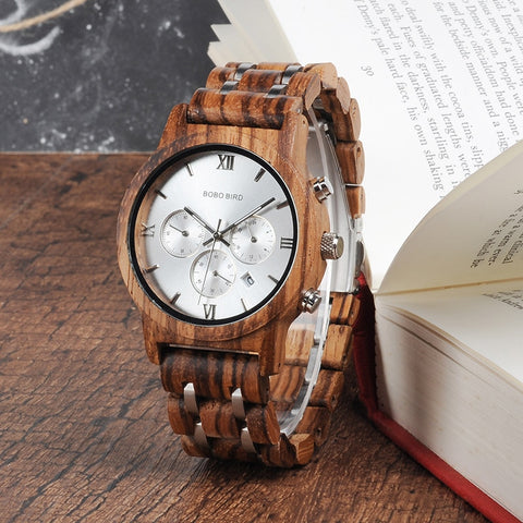 Wooden Quartz Watches Date Display Business Watch