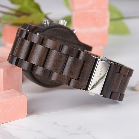 Watches Luxury Brand LED Digital Quartz Double Display Wood Watch