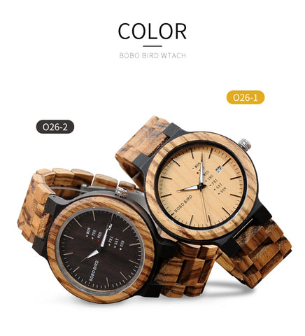 Wood Watch  Week and Date Display Timepieces Casual Wooden Clock