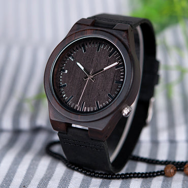 Asymmetric Design Ebony Wooden Watches