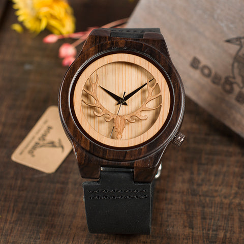 Deer Skeleton Black Wood Watches Leather Band Mens Top Brand Quartz Watches