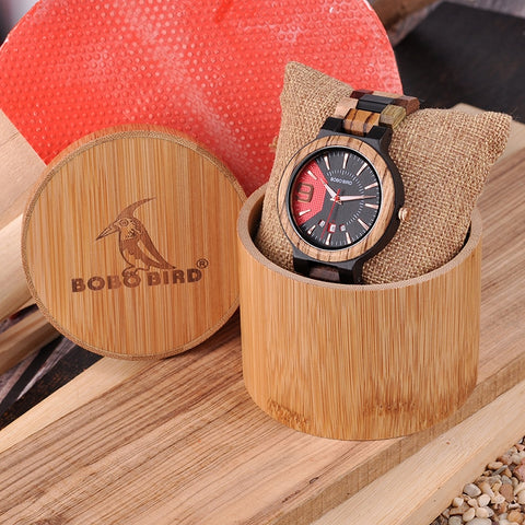 Wooden Watch Men Show Date Qartz Wristwatch