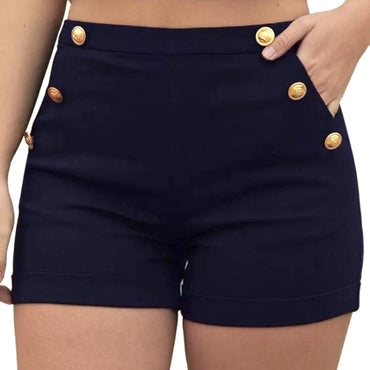 Polyester Casual Solid Skinny Zipper Fly High Waist Hot Shorts
