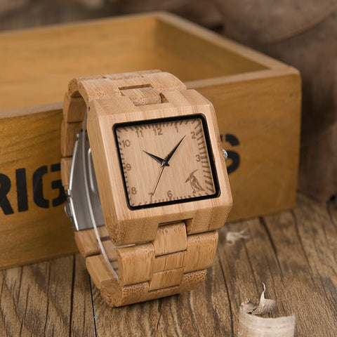 Rectangle Quartz-watch Bamboo Waterproof Wristwatch