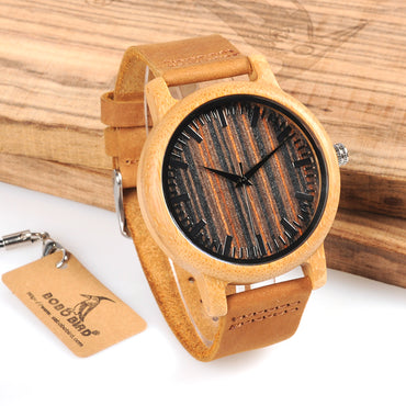 Bamboo Watch Wooden Dial Face with Scale Men Quartz Watches