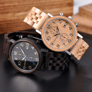 Business Wood Metal Watch Chronograph Quality Movement Wristwatch
