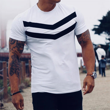 Cotton Short Sleeves black Undershirt  Solid stripe T-shirt