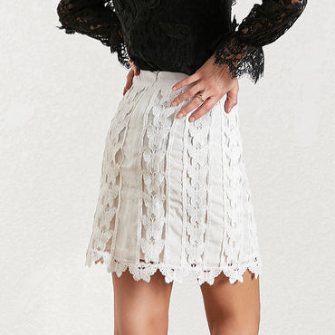 Hollow Out Patchwork Lace Skirt