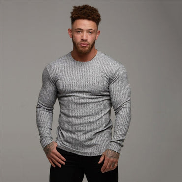 Slim  Solid Muscle Long Sleeve Plain Top Curved   Fashion Sweaters