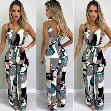 Boho Floral Jumpsuit Long Trousers Pants Spaghetti Strap V Neck Backless Street Office Rompers
