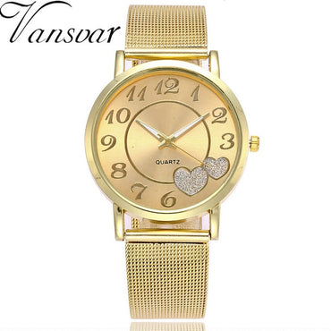 Stainless Steel Strap Pin Buckle Clock Quartz Wrist Watches