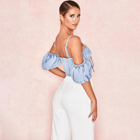Lace Up Open Shoulder Solid Jeans Vest Backless Sexy Strap Crop Tops