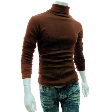 Newly Casual Men Long Sleeve Knitwear Autumn Winter Turtle Neck Slim Fit Basic Pullover Sweaters