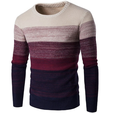 O-Neck Striped Slim  Men Long Sleeve Patchwork Male Pollover Sweater