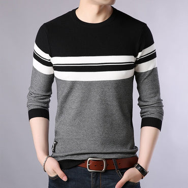 Thick Striped  Knitted Pullover Sweater