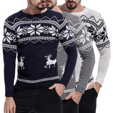 Causal  O Neck Sweater Deer Printed Autumn Winter Christmas Pullover Knitted Jumper Sweaters