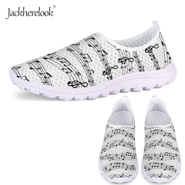 White Music Notes Sneakers  Breathable  Flat Shoes