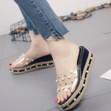 Jelly Slippers Slip On Pearl Beach Wedges Jelly  Sandals