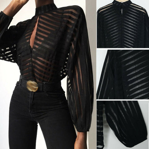 Sheer Long Sleeve Shirt Black Front Hollow Sexy Tops Blouses