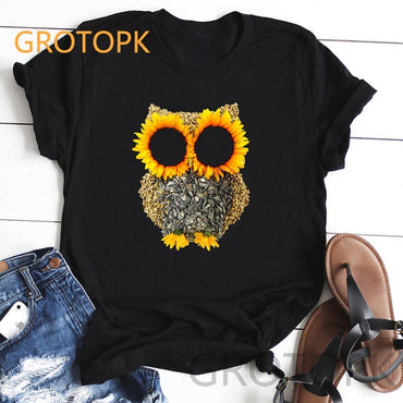 Sunflower and Letter Print Casual T-shirt