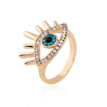 Elegant Blue Evil Eye Cubic Zirconia Ring