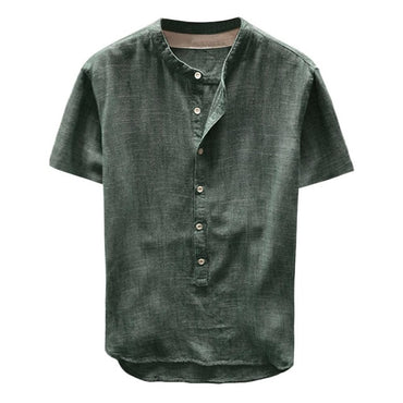 Button Casual Linen and Cotton Short Sleeve Shirts