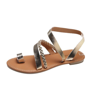 Strappy Gladiator Low Flat Heel Flip Flops Beach Sandals