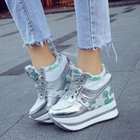 Leisure Casual Leopard Bling Sequins Muffin Platform Shoes & Sneakers