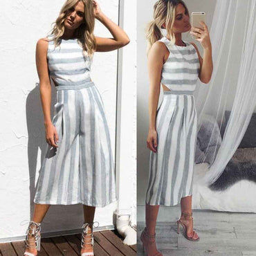 Sleeveless Striped Jumpsuit Casual Clubwear Wide Leg Pants Outfit Romper