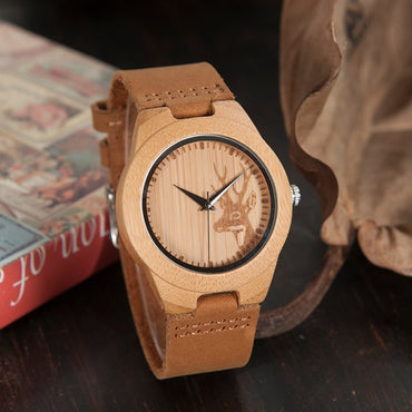 Bamboo Wooden Watch Quartz Real Leather Strap Watches