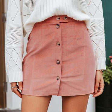 A-line front buttom mini skirt