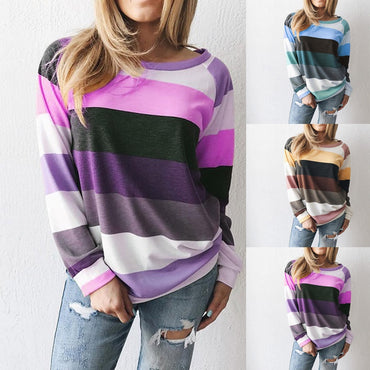 Casual Loose Striped Pullover Sweatershirt Hoodies