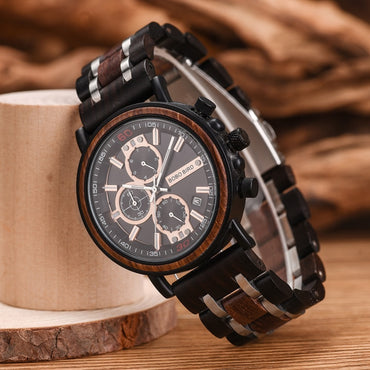 Wood Watch Chronograph Military Watches