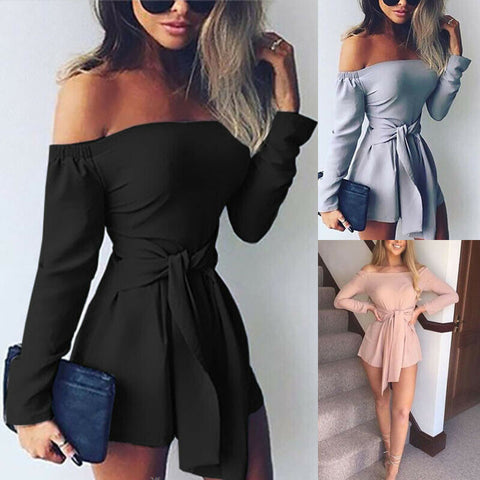 Off Shoulder Holiday Mini Rompers