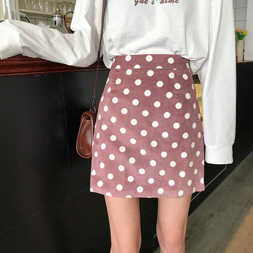 High Waist Wild Big Polka Dot Print Wild Sweet Mini Skirt