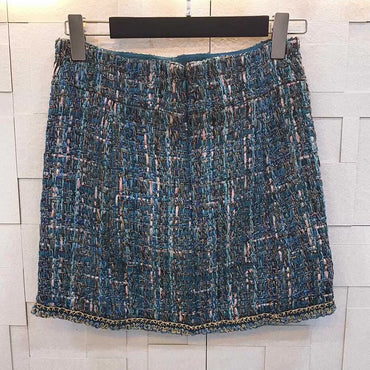 casual Tweed weaving retro Short skirt